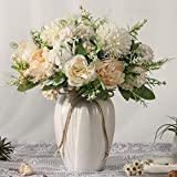 JARELING Peonies Artificial Flowers in Vase, Fake Hydrangea Silk Peony Flower Bouquet with Vase Faux Flowers Arrangement Decor Home Table Dining Room (White)