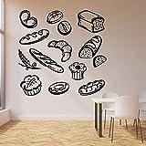 Tianpengyuanshuai Pan de Comida rápida Tatuajes de Pared panadería Productos de panadería Postre Cocina Restaurante decoración Puertas y Ventanas Pegatinas de Vinilo Mural 57x58cm