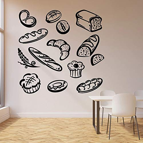 Tianpengyuanshuai Pain Fast Food Stickers muraux Boulangerie Produits de Boulangerie Dessert Cuisine Restaurant décoration Portes et fenêtres Vinyle Autocollants Mural 57x58 cm