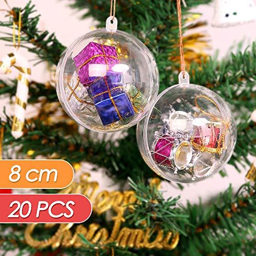 Mbuynow 20 stück Acrylkugeln Weihnachtskugeln Transparente weihnachtskugeln als Saisonal Deko Hochzeitsdeko hängender Kugel weihnachtskugeln durchsichtig deko Kugeln christbaumkugeln