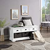 Homes Collection Wood Storage Bench, Shoe Bench Storage Bench with 3 Drawers and 3 Woven Baskets for Living Room, Entryway, Hallway, No Assembly Required (White)