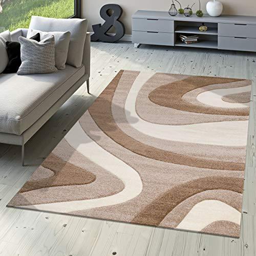T&T Design - Morbido tappeto moderno a pelo corto per soggiorno camera da letto sala da pranzo motivo a onde disponibile in diversi colori Colori e taglie, Beige, 120 x 170 cm