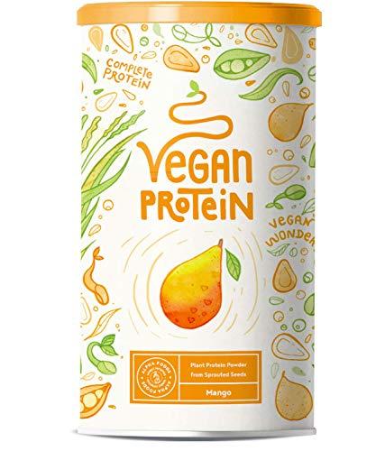 Vegan Protein - MANGO - Pflanzliches Proteinpulver aus gesprossten Reis und Erbsen - 75% Eiweißanteil - 23g Protein pro Portion - 600 Gramm Pulver