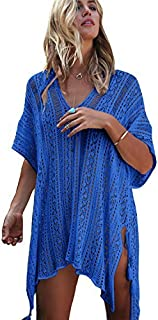 shermie Swimsuit Cover ups for Women Women's V-Neck Plus Size Loose Knitted Beach Dresses