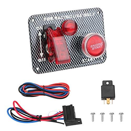 LICHONGUI Accesorios para automóviles de Fibra de Carbono Interruptor de Palanca LED para Carreras de automóvil Motor de Arranque Pulsador de pulsador 12V LED Cambio de Encendido Panel (Color : T0)