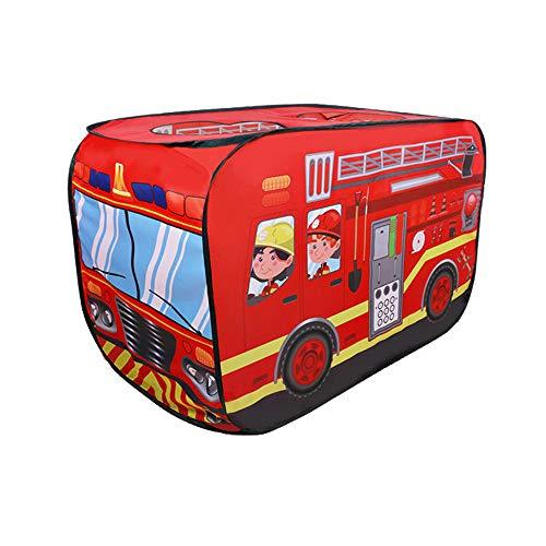 WooMax Feuerwehrauto-Zelt für Kinder, Kleinkinder, Jungen und Mädchen, 112 x 70 x 75 cm, rotes Feuerwehrauto, Pop-Up-Spielhaus für drinnen und draußen, Autozelt, Spielzeug