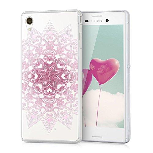 kwmobile Hülle kompatibel mit Sony Xperia M4 Aqua - Hülle Silikon transparent Herzmuster Rosa Weiß Transparent