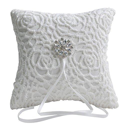 LinTimes Blumen-Schmuckkissen, Spitze, Spitze, für Hochzeit, Ringkissen, Schmuck, Träger, 15,2 x 15,2 cm, Weiß
