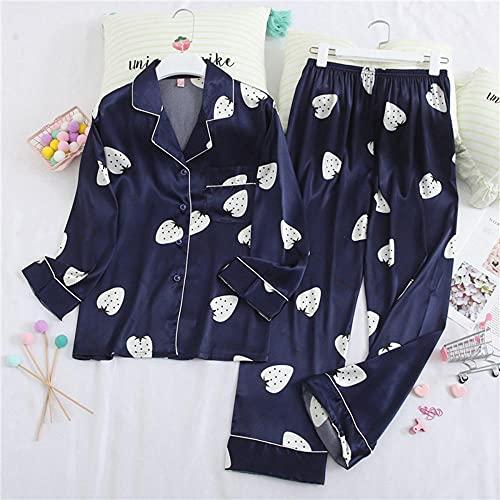 AOQW Pijamas Mujeres Manga Larga Pijamas Sexy Pantalones De Otoño Trajes Impresión Pijama Pijama Pyjama Sets Solapa Casual Wear-5_L