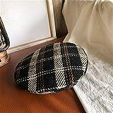 ROUBER Sombrero femenino japonés literario retro a cuadros boina pintora gorra versión coreana del otoño e invierno sombrero de calabaza salvaje al aire libre (color: negro, tamaño: M)