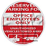 """Swono Reserved Parking Beach Towel Warning Signs Parking Only for Office Employees Soft Polyester Round Beach Towels in Tassel for Beach Cushion Yoga Towel Indoor Outdoor 60"""" D"""