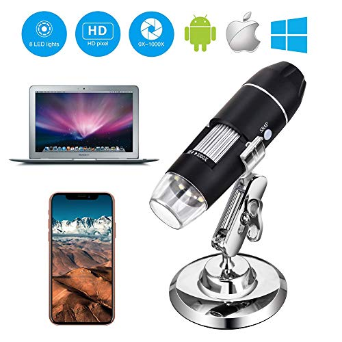 USB Microscope, with Metal Stand, 1000x Digital Handheld Microscope with 8 LED and 2 in 1 Micro USB Support for OTG Adapter, Android Smartphone, iPhone, Tablet, Widows by DigiHero Mini Camera