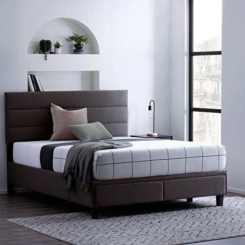 Edenbrook Johnson Upholstered Bed with Drawers - Built-in Drawers - Modern Channel Tufted Headboard -EasyAssembly