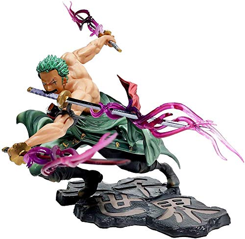 KIACIYA Anime One Piece Figurine Roronoa Zoro Trois Couteaux Big Thousand World WA No Kuni Anime Figure 18cm-New World-Figurine Décoration Ornements Collectibles Toy Animations Character Model (Zoro)