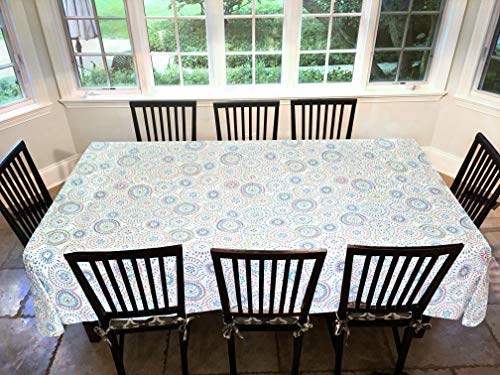 Covers For The Home Deluxe Stitched Edged Flannel Backed Vinyl Drop Tablecloth - Multi-Color Geometric Medallion Pattern - 60' x 90' - Oblong