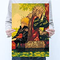 アニメPoster Naruto 4世代NARUTO卯月ナルトと父クラフト紙ポスターレトロな装飾絵画51x35.5cm