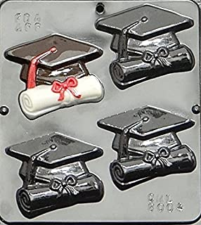 Graduation Cap & Scroll Chocolate Graduation Candy Mold 8004