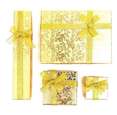 RKC Jewelz x 4 Pcs Mixed Size Set of Beautiful Sparkling Ribbon Jewellery Gift Boxes for Necklace Bracelet Earrings Charms Wholesale Sets (Gold)