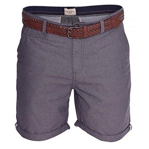 Brave Soul Herren-Shorts, einfarbig, Baumwolle, lässig, Sommer, Urlaub, kurzer Gürtel Gr. M, blau