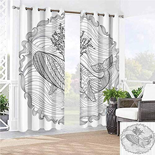 Anmaseven 100' W by 84' L(K254cm x G213cm) Modern Washable Curtains Protect You from Sun/Rain Razorback Whale Swimming in Doodle Stylized Ocean Waves Sea Underwater Illustration