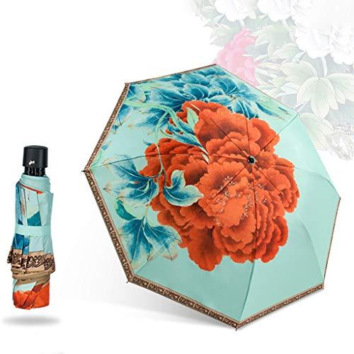 Fashion Floral Umbrella Taschenschirm Für Frauen Sun & Rain Anti-Ultraviolett-Sonnenschirm Außenbereich Wasserdichter Regenschirm Business Sommer Hochzeitsgeschenke Winddicht Kompakter Reiseschirm