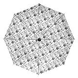 Petit Parapluie de Voyage Coupe-Vent extérieur Pluie Soleil UV Auto Compact 3 Plis parapluies Couverture - Doodle Champignon Noir et Blanc Mignon
