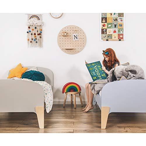 Normastore Kids Kinderbett mit Rausfallschutz 80x160 Bett Schublade Matratze Lattenrost, Mädchen Jungen, Kinder ab 2 Jahren, Einzelbetten RETRO (80x160 ohne Matratze mit Schublade, Grau)