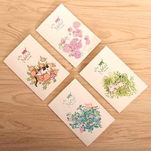 Gifts UK® Juego de 4 cuadernos pequeños con diseño de gatos en flores de jardín, 4 unidades