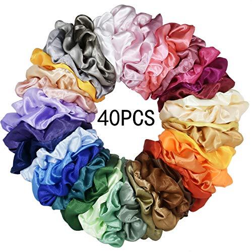 Mcupper 40 Pcs Hair Silk Scrunchies Satin Elastic Hair Bands Scrunchy Hair Ties Ropes Scrunchie for Women Girls Hair Accessories - 40 Assorted Colors Scrunchies