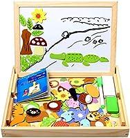 StillCool Puzzles de Madera Magnético 100 Piezas, Dibujo de Animal Colorido con Placa ,Rompecabezas Pizarra con Caja para...