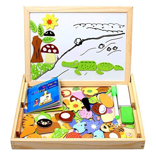 StillCool Puzzles de Madera Magnético 100 Piezas, Dibujo de Animal Colorido con Placa ,Rompecabezas Pizarra con Caja para Niños Desde 3 Años,Juguete Educativo para Regalo