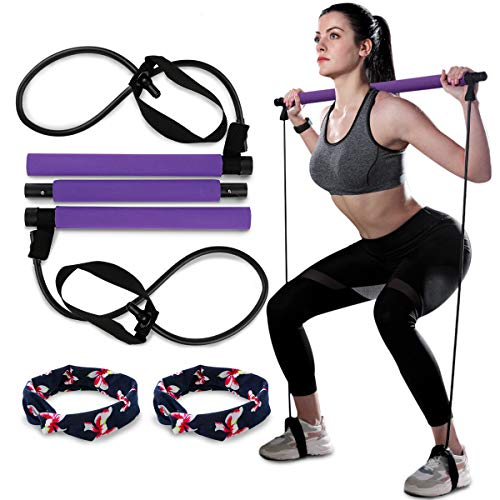 Aiung Pilates Bar Kit with Exercise Resistance Band, Yoga Pilates Stick with Foot Loop, Home Gym Toning Bar Exercise Bands, Full Body Workout (Purple)