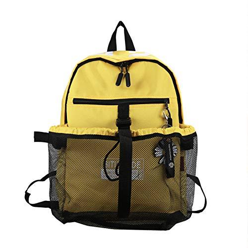 Zaino nuovo grande capacità femminile versione coreana selvaggio liceo studente universitario zaino borsa da scuola 41 cm * 31 cm * 13 cm giallo + piccolo ciondolo fiore