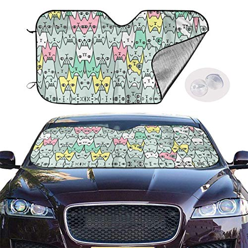 mchmcgm Parasol Bright Cats Pattern Auto Windwhield Sun Shades Universal Fit 51,2 x 27,6 Inch Window Keep Your Vehicle Cool Visor for SUV Sunshade Cover
