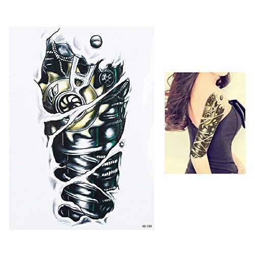 5Pcs Arte Corporal Tatuajes Temporales Falsos,Tatuajes Adhesivos Temporales Impermeable Para Adultos Hombre Mujer Niños Engranaje Mecánico Cráneo Dragón Diablo Pared Completa Negro Tatuajes Para Brazo