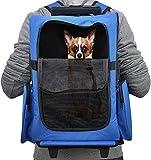 [pro.tec] Mochila / carrito para perros 2 en 1 - transportín para perros y gatos (azul) -...