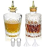 SuproBarware Bitters Bottle Set of 2,Glass Dasher Bottle, Decorative Bottle for Cocktail with Gold Dash Top