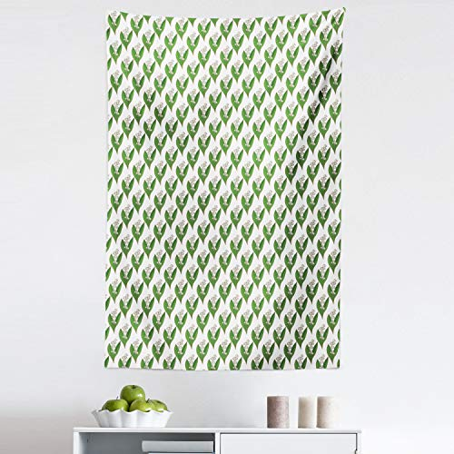 Lunarable Apothecary Tapestry, Symmetric and Repetitive Pattern with Lily of The Valley Print, Fabric Wall Hanging Decor for Bedroom Living Room Dorm, 30' X 45', Fern Green and White