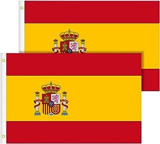 TIMESETL Bandera España Grande 2pcs Bandera de España, Resistente a la Intemperie, 90 x 150 cm