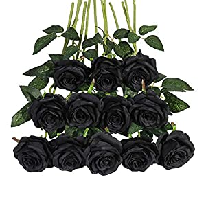 Tifuly 12 PCS Rose Artificial Flower, Single Stem Fake Flowers Bridal Wedding Bouquet, Realistic Blossom Flora for Home Garden Party Hotel Office Decorations