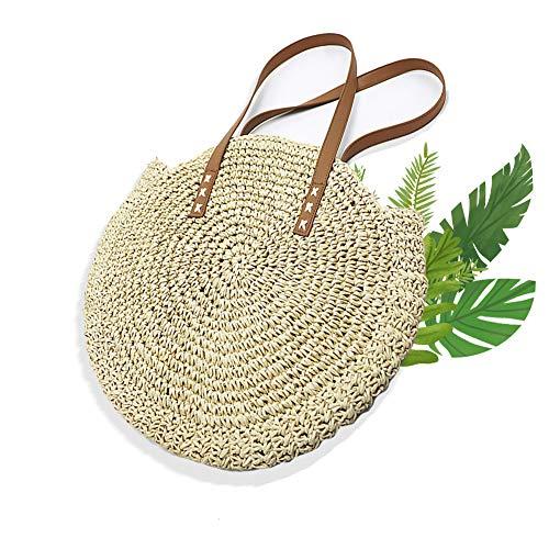 Beito Bolsa De Paja 1PC redondo verano paja bolso grande tejido bolso de hombro con correas de cuero Natural Chic Braided Handbag vocation Beach Tote Bolso para niñas(Beige)