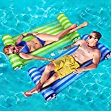 KMM Swimming Pool Float Hammock 2-Pack, Premium Multi-Purpose Inflatable Floating Hammock 4-in-1 (Saddle, Lounge Chair, Hammock, Drifter) Portable Water Hammock Lounge with Air Pump (Blue & Green)