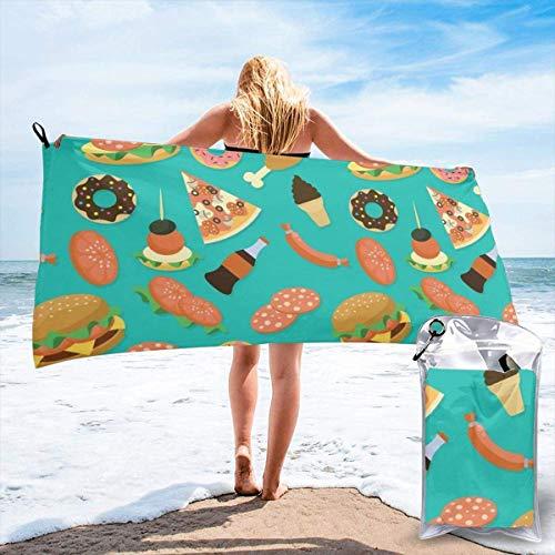 Beach Towels Hamburger Donut Coke Toalla ligera de secado rápido Toalla súper absorbente sin arena para viajes, natación, gimnasio, yoga 140X70CM