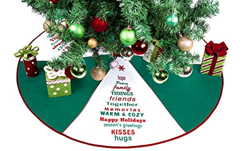 Imperial Home Green & White Tree Skirt With Greetings - 36' Christmas Tree...
