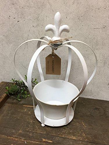 Krone ArtFerro Gartendeko Pflanzkrone Dekokrone Shabby weiß creme, Metall, Landhausstil (groß 31cm)