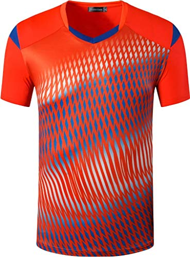 jeansian Men's Sports Breathable Quick Dry Short Sleeve T-Shirts Tee Tops LSL250 Orange S