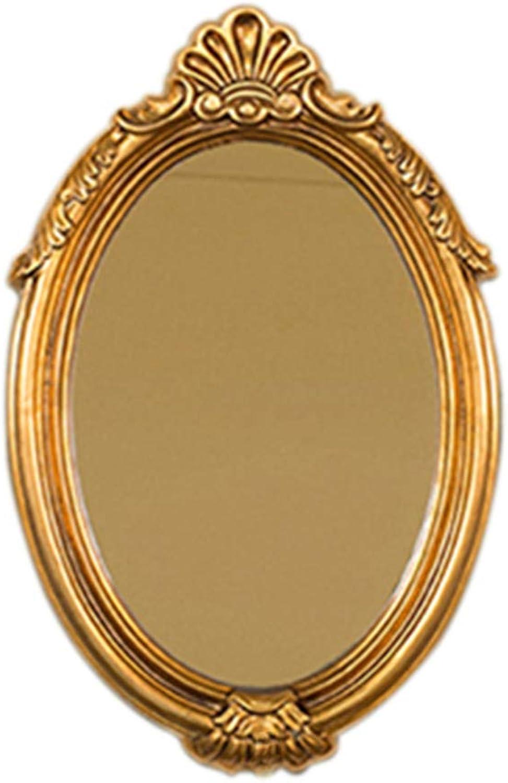Bathroom Vanity Mirror, European Retro Hand-Polished Wall Hanging Mirror - Oval Decorative Wall Hanging Mirror -66x42cm (color   gold)