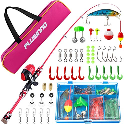 PLUSINNO Kids Fishing Pole with Spincast Reel Telescopic Fishing Rod Combo Full Kits for Boys, Girls, and Adults (Red, 120cm 47.24In)