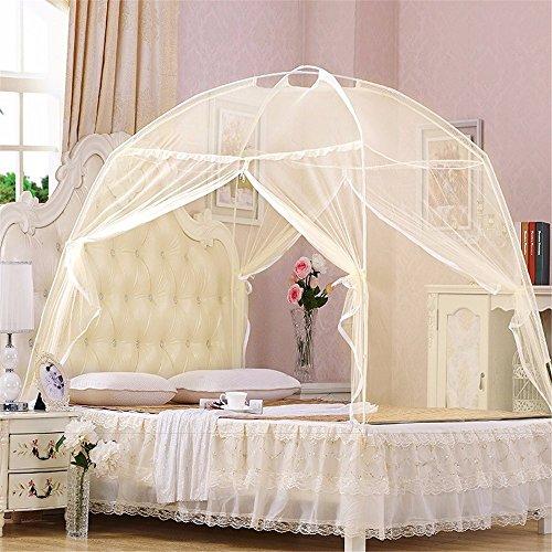 Verano Bi-Parting Plegables Mesh Insect Bed Mongolia Yurt Mosquito Net King/Queen Size Ropa de Cama Toldo Cortina Cúpula Tienda, Amarillo, 180 * 200 * 135 CM