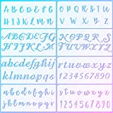 8 Pieces Calligraphy Letter Number Stencil Reusable Template Cursive Alphabet Cake Stencils with Metal Open Ring for Cake Airbrush Art and Craft Painting